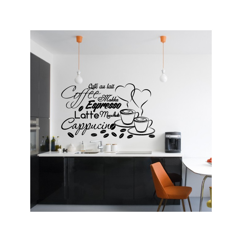 sticker cuisine tasses caf espresso cappucino latte. Black Bedroom Furniture Sets. Home Design Ideas