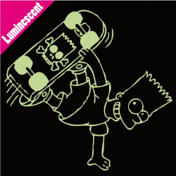 Sticker Luminescent Simpson - Bart Skate tête de mort