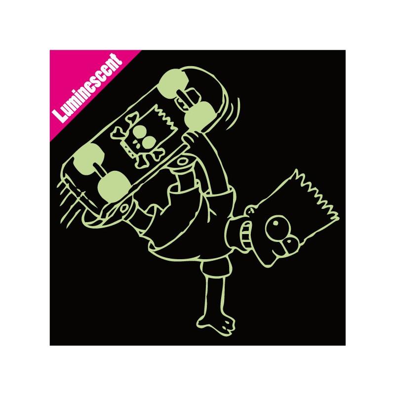 Sticker Luminescent Simpson - Bart Skate tête de mort
