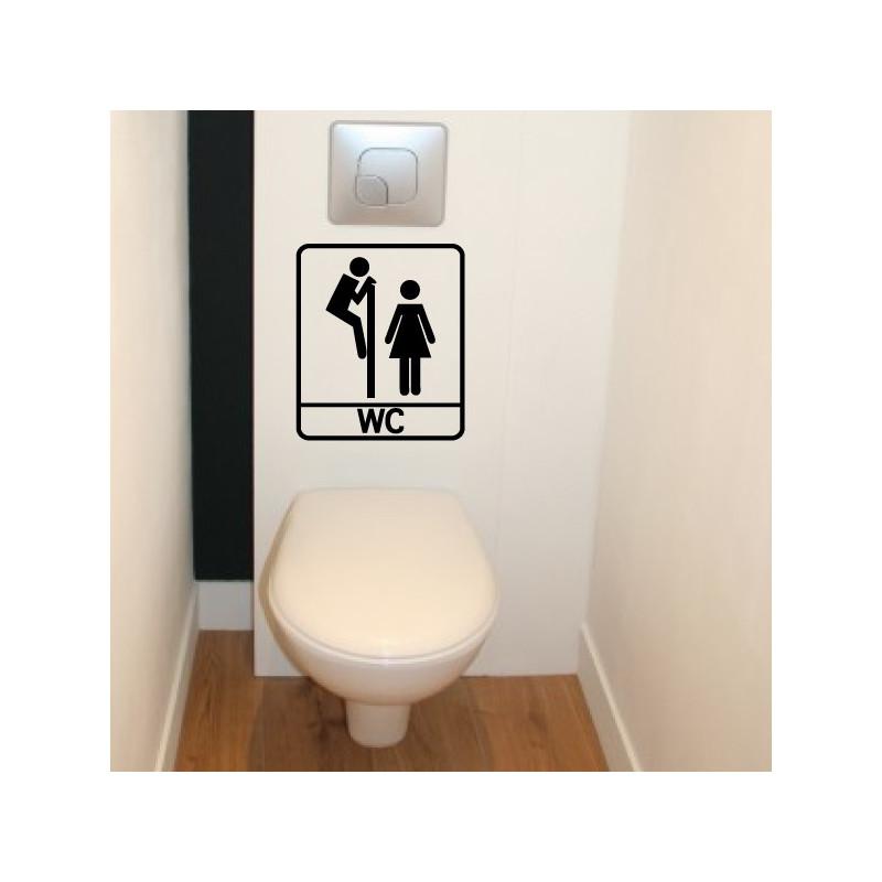 Sticker Abattant WC - Personnages H & F Humoristique Regarde par dessus + WC