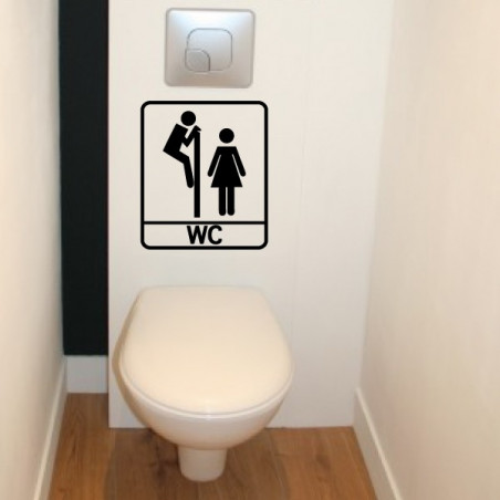 Abattant WC - Personnages H & F Humoristique Regarde par dessus + WC