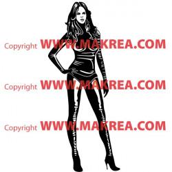 Sticker Femme sexy tenue cuir