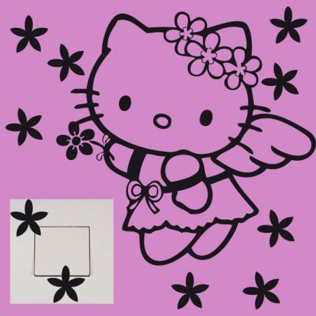Stickers Interrupteur / Prise Hello Kitty Fleurs