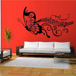 Sticker Papillon Portée musicale