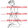 Sticker Femme à genou pose glamour