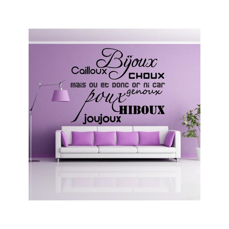 Sticker Texte : Bijoux, cailloux, Choux ...