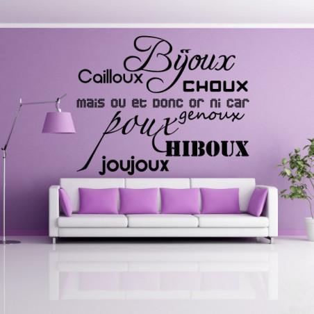 Texte : Bijoux, cailloux, Choux ...