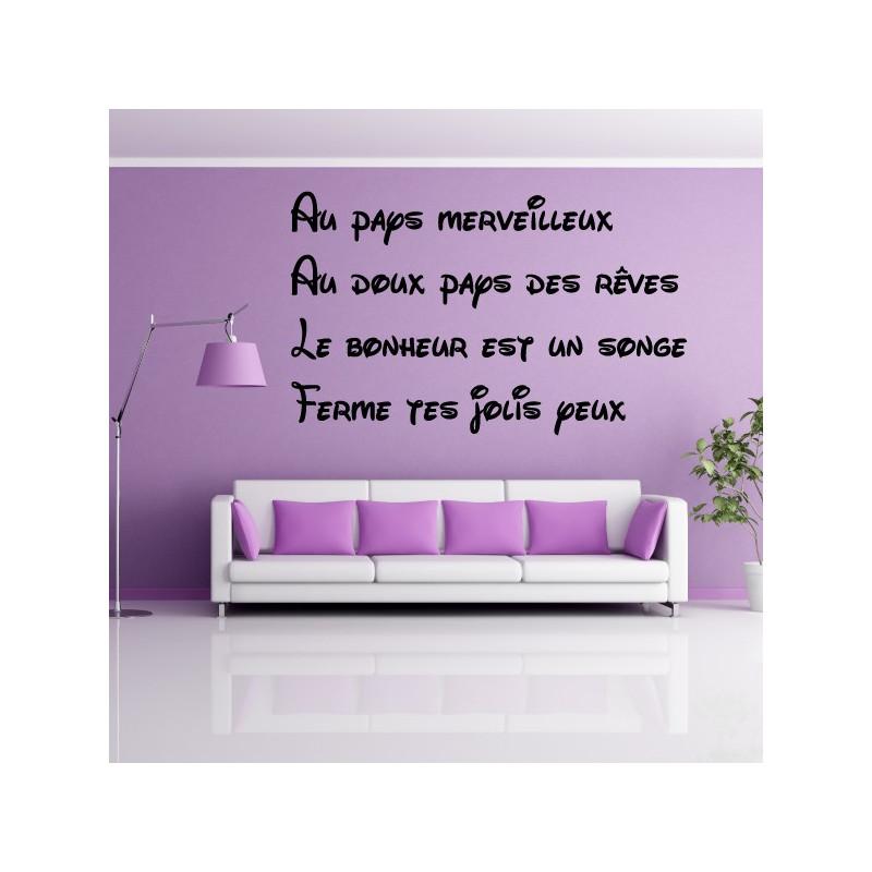 Sticker Texte : Au pays merveilleux, au doux pays des rêves ...