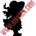 Sticker Silhouette Fillette Chapeau qui souffle des Pissenlits