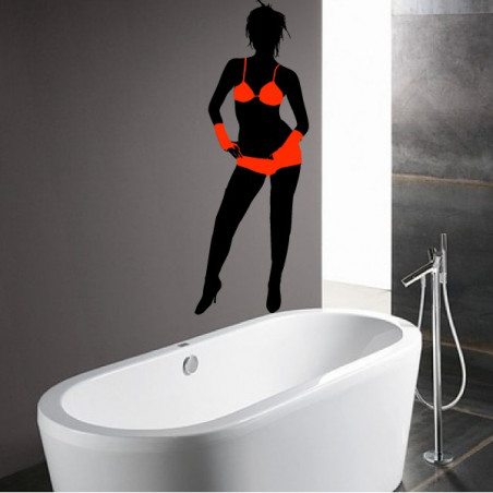Femme sexy maillot de bain 2 pièces et mitaines - Bi-Colors
