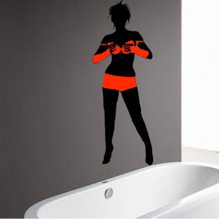 Femme sexy maillot de bain tenant son soutien-gorge - Bi-Colors