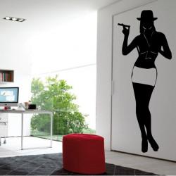 Silhouette Femme Debout Jupe, Chapeau et Cigare