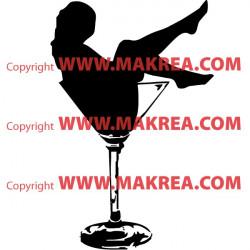 Sticker Femme sexy Verre à Cocktail