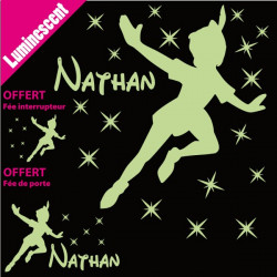 Sticker Luminescent PACK Silhouette Peter Pan + prénom + déco porte + interrupteur