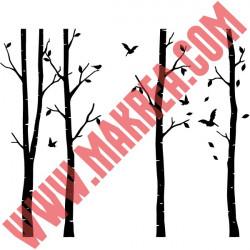 Sticker Nature - 4 Arbres Bouleaux et oiseaux