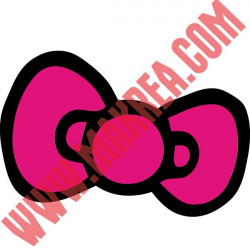 Sticker Noeud Hello Kitty 2 couleurs