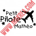 Sticker Avion Petit Pilote + prénom personnalisable