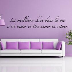 """Citation """"La meilleure chose dans la vie c'est aimer et être aimer en retour """""""