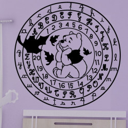 Sticker Winnie l'ourson Cercle Alphabet et Chiffres