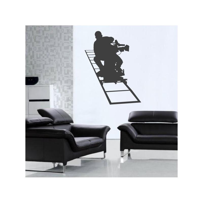 Sticker Cinema - Silhouette Caméraman sur rail