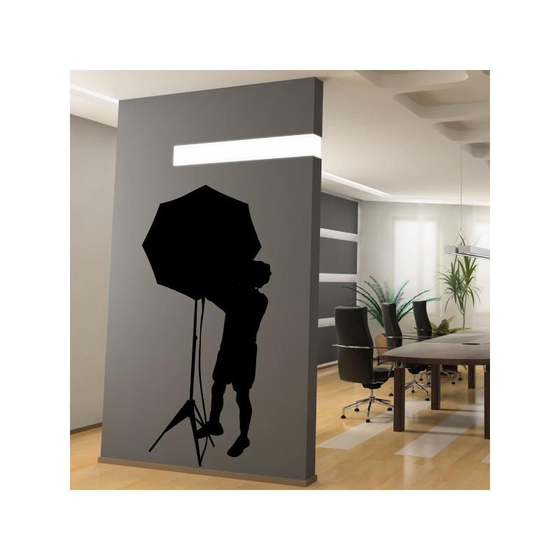 Sticker Cinéma - Silhouette Technicien Parapluie