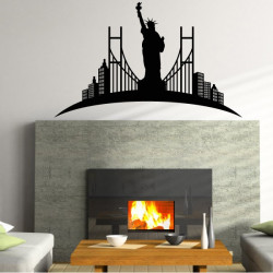 Sticker New-York - Paysage Statue de la Liberté Pont et Buildings