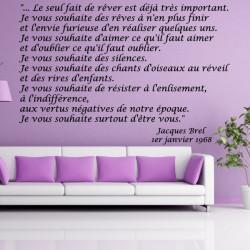 Sticker Texte Jacques Brel - Le seul fait de rêver est déjà très important...