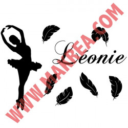 Sticker de porte - Danseuse Classique Plumes + prénom