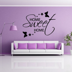 Sticker Citation Home Sweet Home Etoiles Papillons