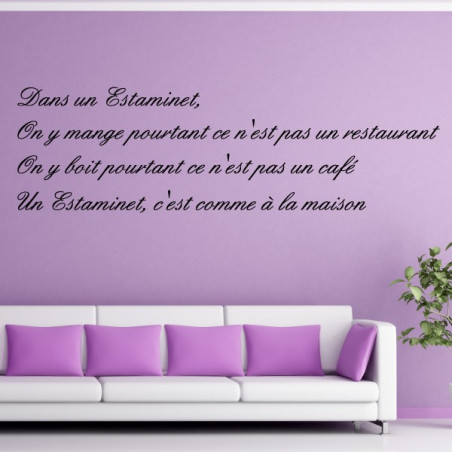 """Texte Lettrage """" Dans un estaminet on y mange ..."""""""