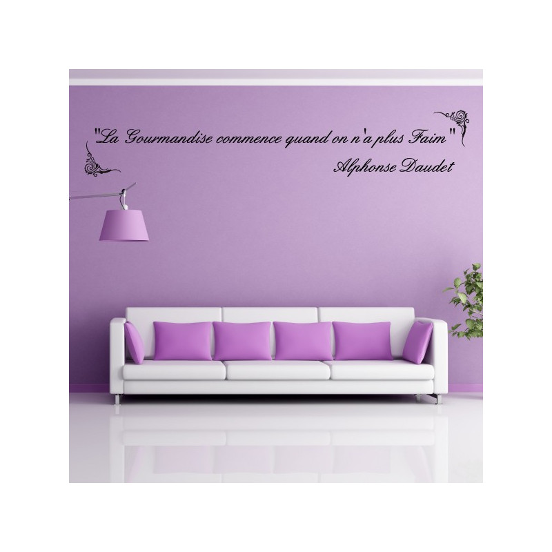 "Sticker Texte Citation "" La gourmandise commence quand on n'a plus faim - Alphonse Daudet """