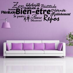 Sticker Mots : Bien-être, Zen, Détente, Repos ...