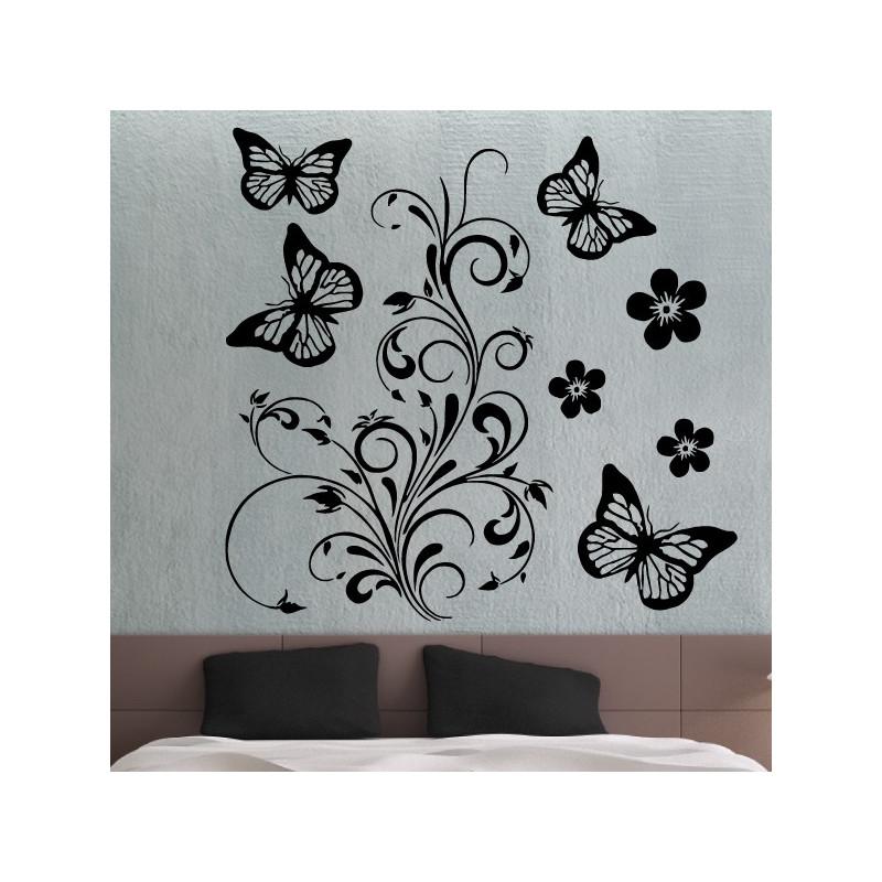 Sticker Nature - Ornements Fleurs et Papillons