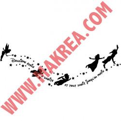 Sticker Peter Pan - Bandeau silhouettes étoiles et texte