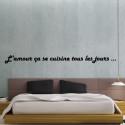 """Sticker Texte Lettrage """"L'amour ça se cuisine tous les jours"""""""