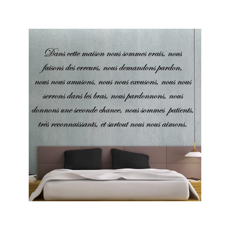 sticker texte lettrage dans cette maison nous sommes. Black Bedroom Furniture Sets. Home Design Ideas