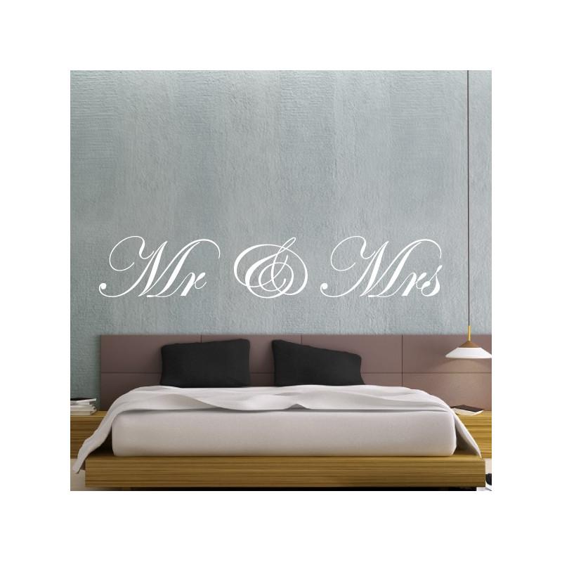 """Sticker Texte Lettrage """"Mr & Mrs"""""""