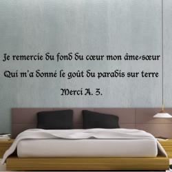 """Sticker Texte """"Je remercie du fond du coeur mon âme-soeur..."""""""