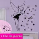 Sticker PACK Fée Clochette + prénom + déco porte