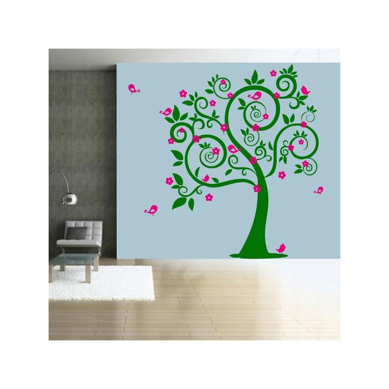 Sticker Nature - Arbre Fleurs Oiseaux 2 couleurs