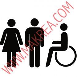 Sticker WC - Personnages H & F + Handicapé