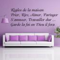 Sticker Texte Règles de la maison Prier, Rire, Aimer, Partager