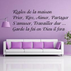 Texte Règles de la maison Prier, Rire, Aimer, Partager
