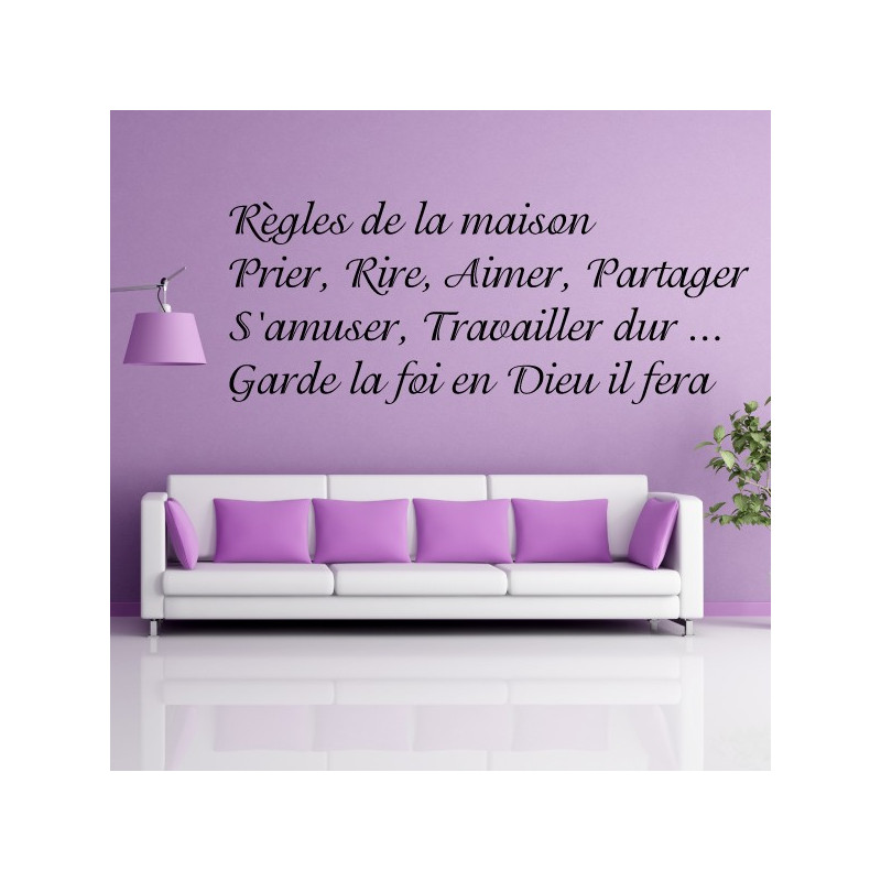 sticker texte r gles de la maison prier rire aimer partager. Black Bedroom Furniture Sets. Home Design Ideas