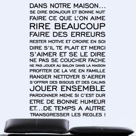 Sticker Texte : Dans notre Maison se dire Bonjour