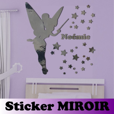 Miroir - Pack Fée Clochette + Prénom + Porte et Interrupteur