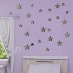 Sticker Miroir - Lot 24 étoiles 2 tailles