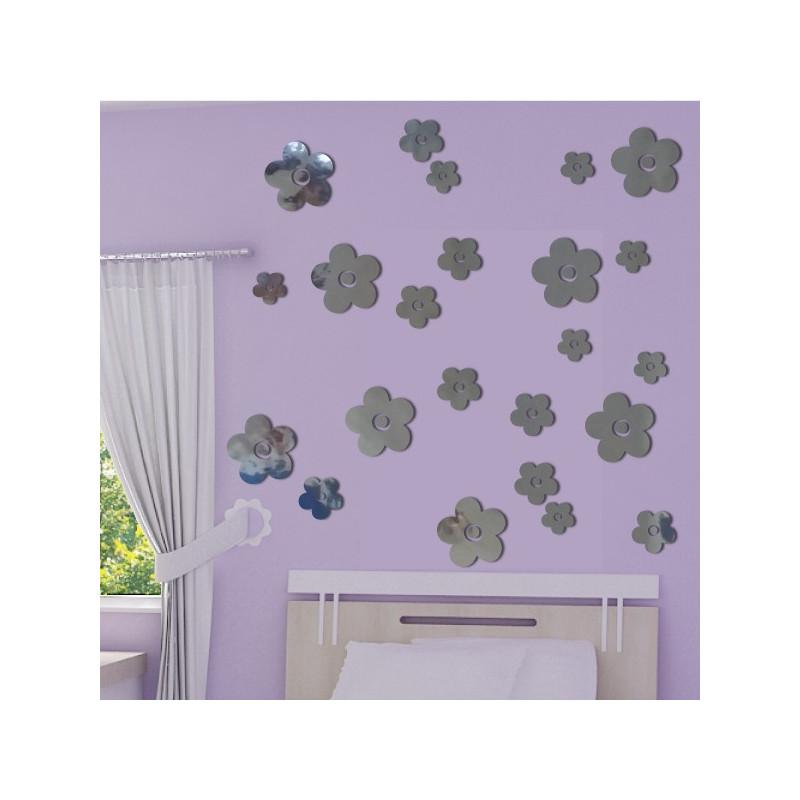 Sticker Miroir - lot 23 Fleurs 3 tailles