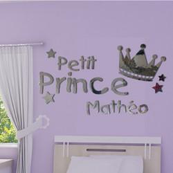 Sticker Miroir - Couronne Petit Prince + prénom personnalisable