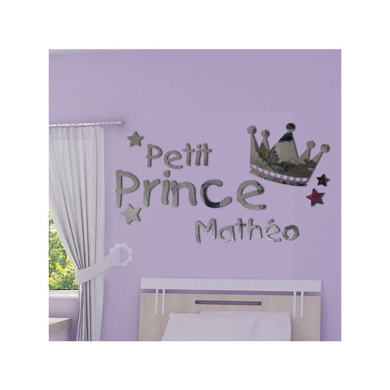 Miroir - Couronne Petit Prince + Prénom Personnalisable